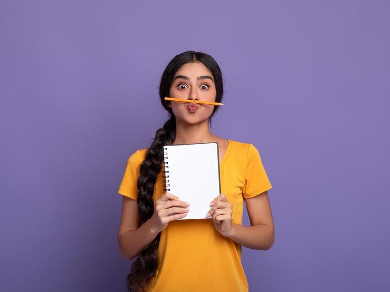 student making list
